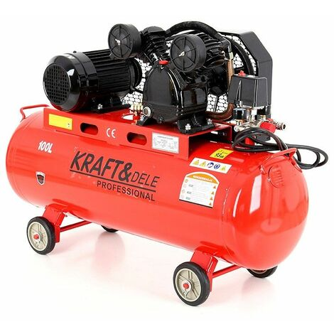 DCRAFT - Compresseur à huile - Capacité 100 L - Alimentation 380V/50Hz - Débit 580 L - Rouge