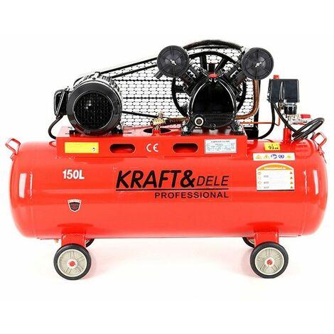 DCRAFT - Compresseur à huile - Capacité 150 L - Alimentation 380V/50Hz - Débit 640 L - Rouge