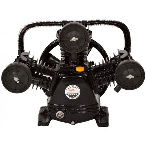 DCRAFT | Compresseur d'air à deux pistons lubrifiés à l'huile | Débit de pompe 670 l/min | 3 cylindres | Outil chantier atelier | Noir - Noir