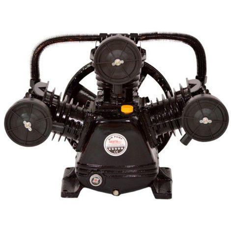 DCRAFT | Compresseur d'air à trois pistons lubrifiés à l'huile | Poulie double | 3 cylindres | Outil chantier atelier | Noir - Noir