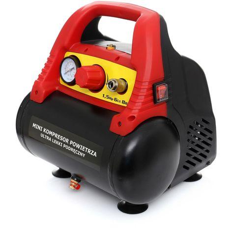 DCRAFT - Compresseur d'air sans huile 1100W Cuve6 litres 180l/min Pression 8 bar - Compresseur d'air d'atelier compact et léger - Rouge