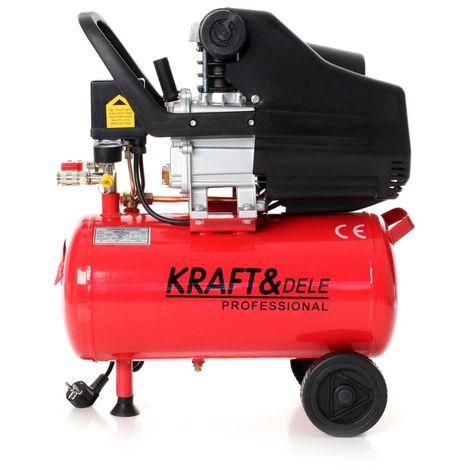DCRAFT - Compresseur lubrifié à l'huile cuve 24L 8Bar horizontal - Moteur 2,8 kW/3,8 KM - 2 manomètres manomètres - chantier/atelier - Rouge