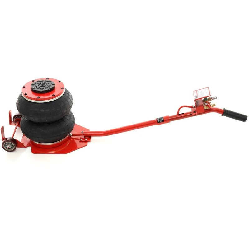 DCRAFT - Cric hydraulique pneumatique 2 boudins/ballons 2 tonnes levée max 300mm - 2 Roues acier - Outil garage - Levage voiture - Rouge/Noir