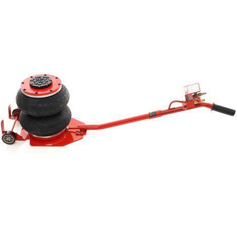 DCRAFT | Cric hydraulique pneumatique 2 boudins/ballons 2 tonnes levée max 300mm | 2 Roues acier | Outil garage | Levage voiture | Rouge/Noir - Rouge/Noir