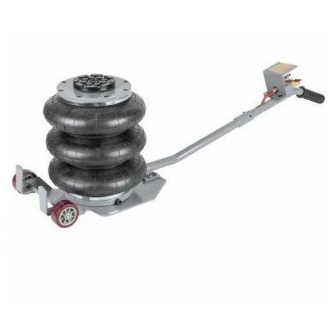 DCRAFT | Cric hydraulique pneumatique 3 boudins/ballons 3 tonnes levée max 400mm | 2 Roues acier | Outil garage | Levage voiture - Gris