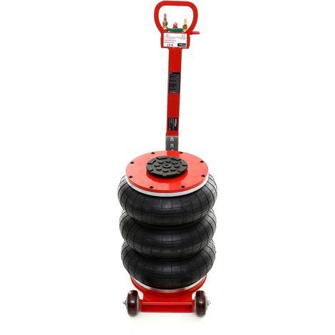 DCRAFT | Cric hydraulique pneumatique 3 boudins/ballons 4,5 tonnes levée max 400mm | Outil garage automobile | Levage voiture | Rouge - Rouge