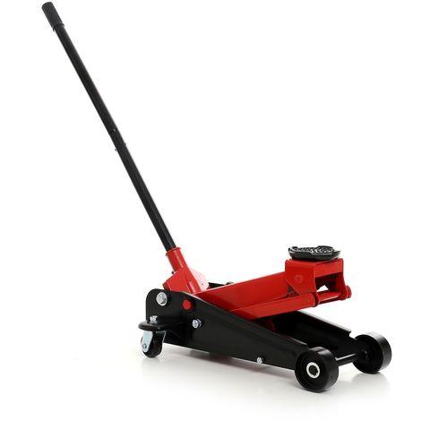 DCRAFT | Cric hydraulique rouleur 3 tonnes levée maxi 460 mm | Roues pivotantes | Outil garage automobile | levage voiture | Rouge/Noir - Rouge/Noir