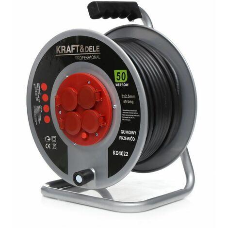 DCRAFT - Enrouleur de câble avec câble électrique - Longueur 30 m - 4 prises - Enrouleur électrique jardin - Gris