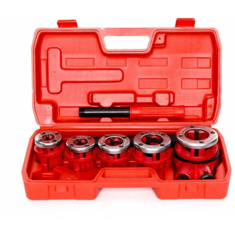 DCRAFT - Filière à main - Ensemble de 5 pièces - Kit de filetage dans une mallette - Rouge