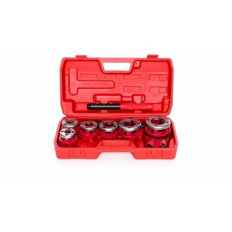 DCRAFT - Filière à main - Ensemble de 6 pièces - Kit de filetage dans une mallette - Rouge