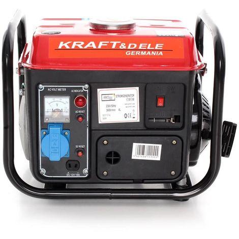 DCRAFT - Groupe électrogène 800W - Moteur essence 2 temps - Courant 230 V - Générateur Electrique chantier/camping car/atelier - Rouge