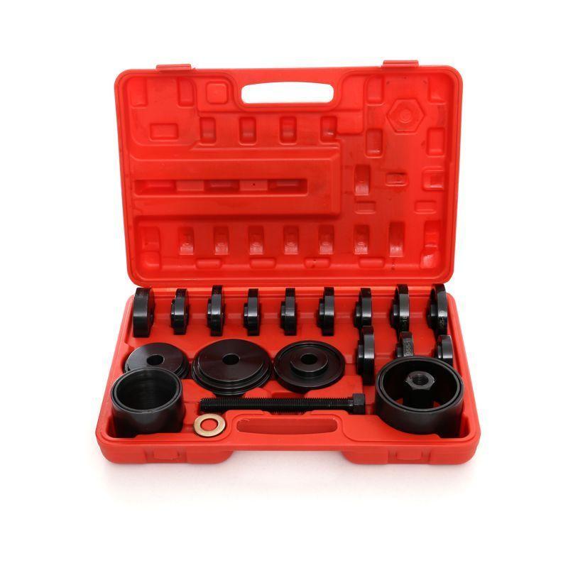Hucoco - DCRAFT - Kit de pose de roulements 23 pièces - Coffret pour remplacement de roulements - Malette outils démontage/montage moyeu - Rouge/Noir