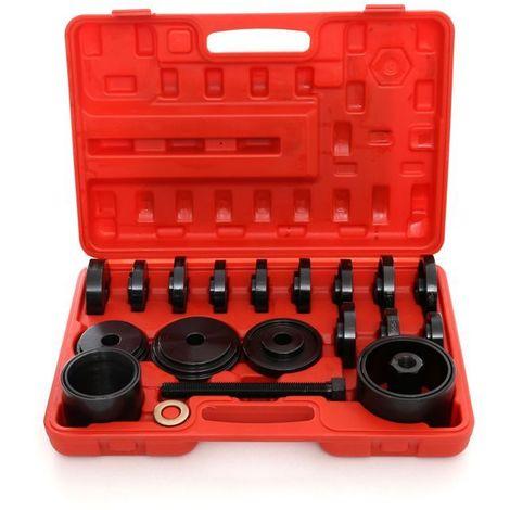DCRAFT | Kit de pose de roulements 23 pièces | Coffret pour remplacement de roulements | Malette outils démontage/montage moyeu | Rouge/Noir - Rouge/Noir
