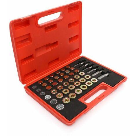 DCRAFT - Kit de réparation pour filets des bouchons du carter d'huile - 114 pièces - Kit de réparation pour filets - Rouge