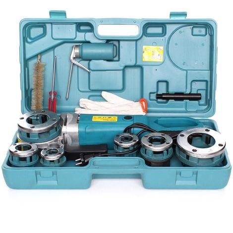 DCRAFT - Kit Filière électroportative 1800W/230V - Kit de filetage électroportative 6 pièces 6 diamètres à fileter - Outil plombier - Noir