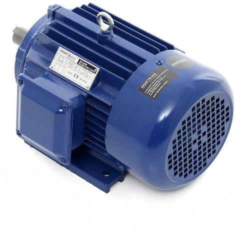 DCRAFT - Moteur électrique 380V 3000W 2840 tours/min 6.12A - Moteur fonte pour pompes/broyeurs/scies/machines industrielles - Bleu
