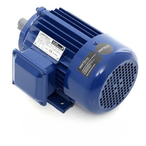 DCRAFT - Moteur électrique 380V 750W 2730tours/min 17.1 A - Moteur fonte pour pompes/broyeurs/scies/machines industrielles - Bleu