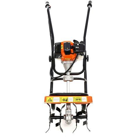 """main image of """"DCRAFT - Motobineuse à essence 52 cm³ puissance: 3,8KW - Outil jardinage thermique - Fraises robustes - Régime: 6500 tours/ min - Orange/Noir"""""""