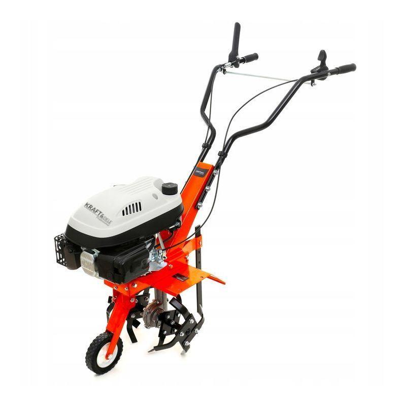 Hucoco - DCRAFT - Motobineuse thermique 139 cm3 puissance 3.6 kW - Outil jardinage - Fraises robustes - Régime 3000 tours/minute - Orange