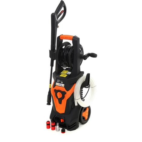 DCRAFT | Nettoyeur haute pression 2100W 200bar Débit 6l/min | Nettoyeur hp voiture compacte léger portable désinfecte dégraisse | Noir/Orange
