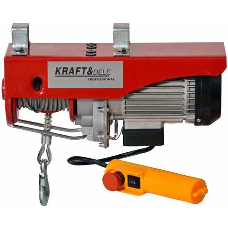 DCRAFT | Palan électrique robuste 250 kg/500 kg | Puissance 1000W 230V / 50 Hz | Outil Chantier/Atelier | Hauteur de levage 12m | Rouge - Rouge