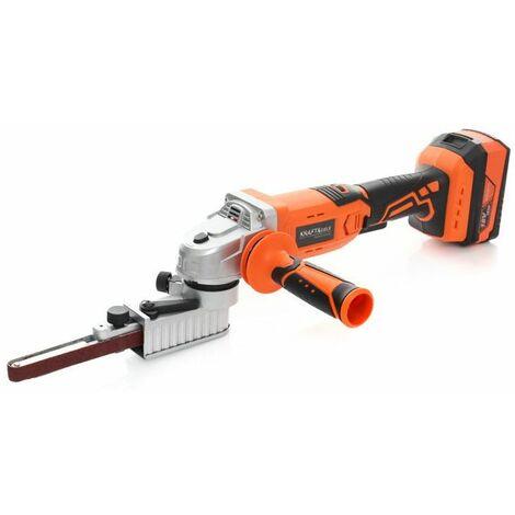 DCRAFT - Ponceuse à bande sans fil -18V - Batterie 2 Ah - bande (3-19mm)x454mm - Vitesse 3,8-8 m/s - Orange