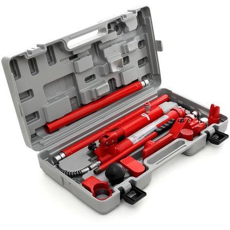 DCRAFT   Presse hydraulique carrosserie 10 tonnes   Coffret Vérin De Carrossier   Malette redressage hydraulique avec 4 rallonges - Gris/Rouge