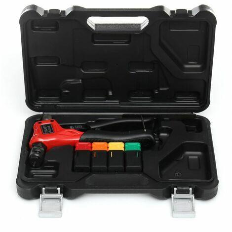DCRAFT - Riveteuse manuelle pour écrous à sertir - 4 embouts interchangeables - 200 mm - Outil pour rivets aveugles - Noir