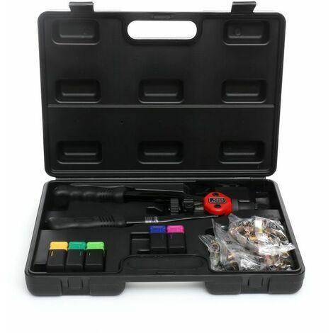 DCRAFT - Riveteuse manuelle pour écrous à sertir - 5 embouts interchangeables - 330 mm - Outil pour rivets aveugles - Noir