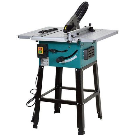DCRAFT | Scie circulaire de table 2550W 5500 tours/min | Scie sur table bois | Scie électrique Coupage/Découpage | Outil Atelier | Argent/Bleu