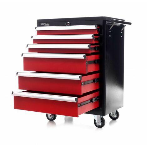 DCRAFT - Servante d'atelier - 70 x 48 x 83,5 cm - 6 tiroirs - Organiseur à outil pour les ateliers et les garages - Rouge