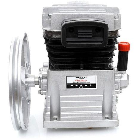 DCRAFT   Tête de compression nue 2 cylindres fonte 1,5 kW/2 cV   Débit 300 L/min Pression 8Bar   Volant Filtre d'aspiration - Argent
