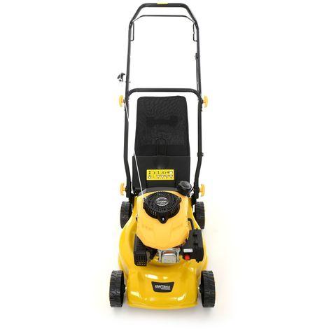DCRAFT - Tondeuse à gazon thermique manuelle 3300W - Hauteur de coupe: 37/55/73 mm - Capacité 55l - Réservoir essence 0.8L - Jaune/Noir