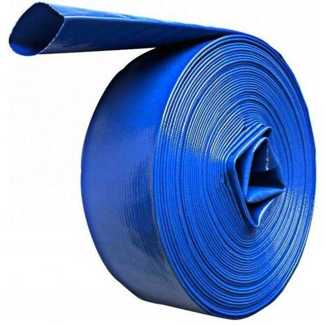 DCRAFT - Tuyau plat refoulement 100 M Diamètre 2 - Tuyau enroulable pour motopompe distribution l'eau claire sale fosse septique - Bleu