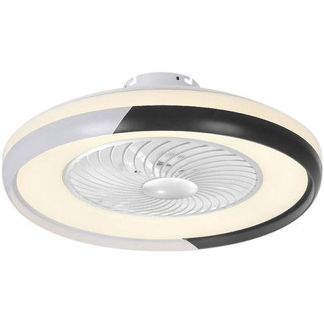De techo moderna Lampara ventilador con control remoto de 3 colores de la luz 3 de velocidad del viento de 50 cm de iluminacion LED ventiladores de techo 110V para el dormitorio, Negro