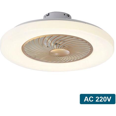 De techo moderna Lampara ventilador con control remoto de 3 colores de la luz 3 de velocidad del viento de 60 cm de iluminacion LED ventiladores de techo 220V para el dormitorio, el oro Champagne
