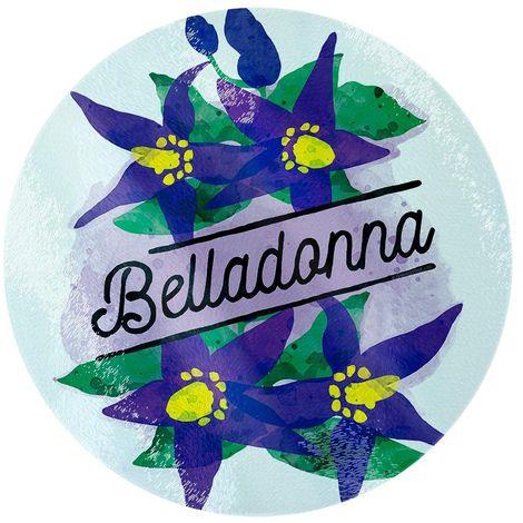 Deadly Detox Belladonna Circular Glass Chopping Board (One Size) (Purple)