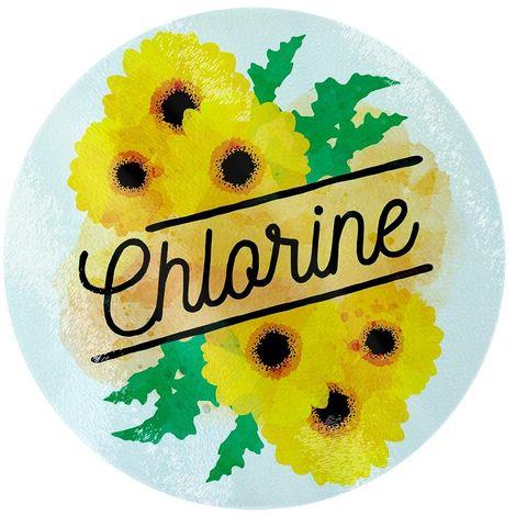 Deadly Detox Chlorine Circular Glass Chopping Board (One Size) (Yellow)