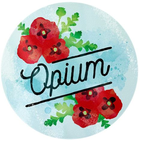 Deadly Detox Opium Circular Glass Chopping Board (One Size) (Blue/Red)