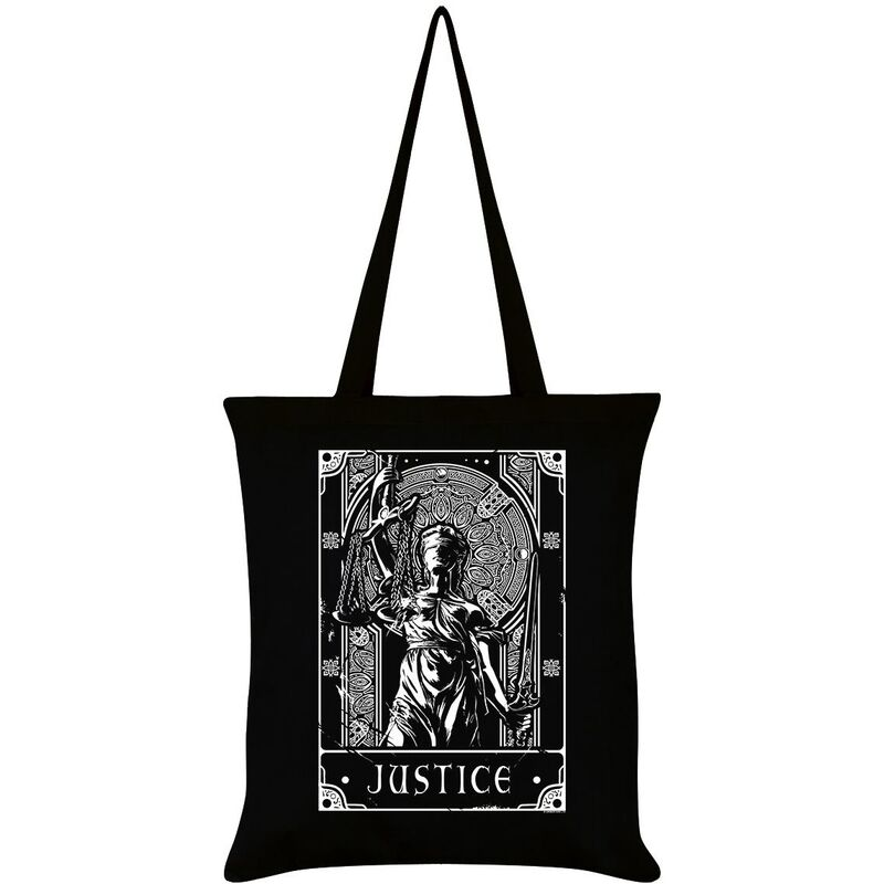 Image of Deadly Tarot Justice Tote Bag (One Size) (Black/White)
