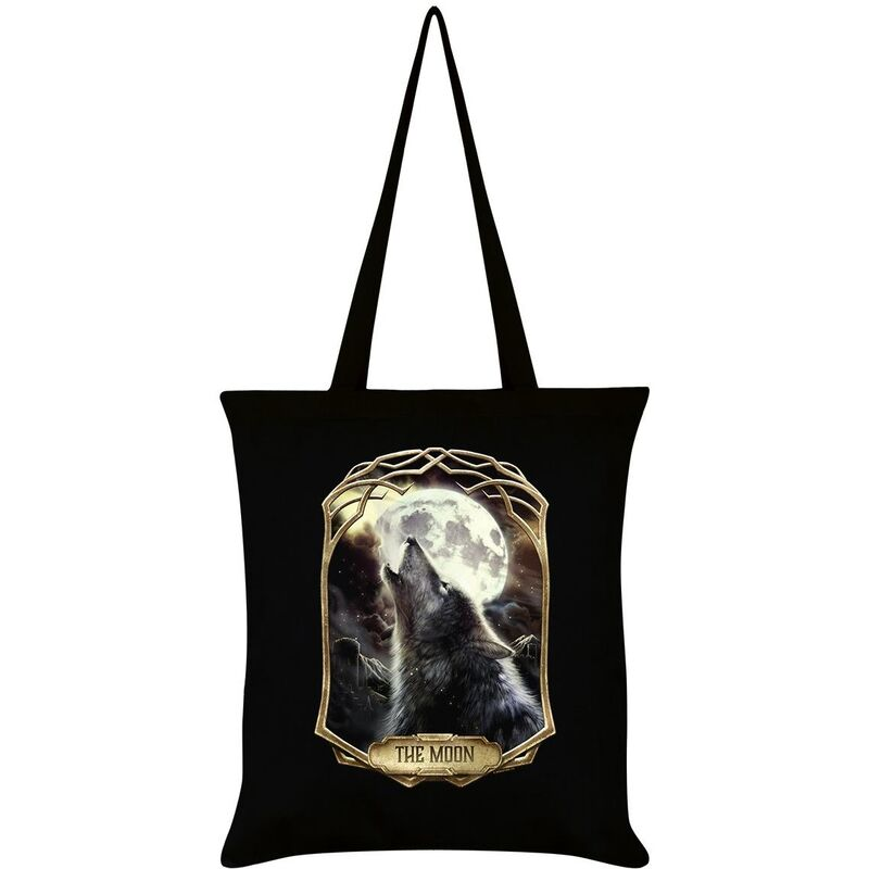 Image of Deadly Tarot Obsidian The Moon Tote Bag (One Size) (Black)