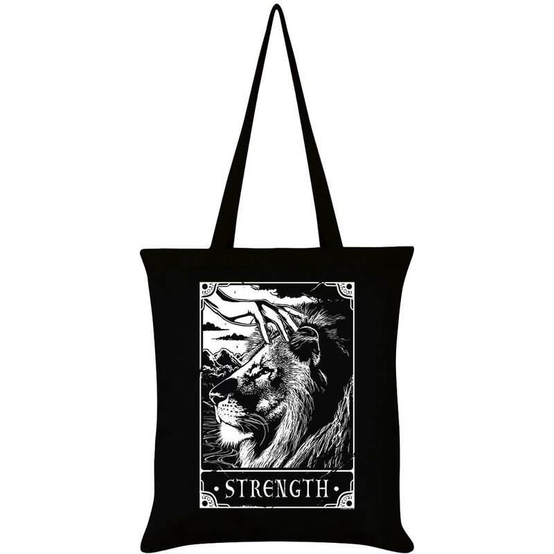 Image of Deadly Tarot Strength Tote Bag (One Size) (Black/White)