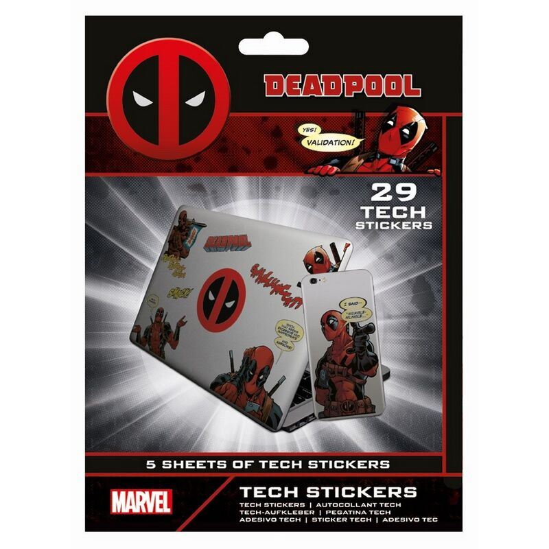 Image of Merc With A Mouth Stickers (Pack of 29) (One Size) (Red/Black) - Deadpool