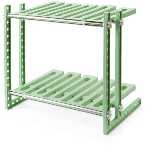 Debajo del fregadero, estante de almacenamiento, armario de cocina, estante, organizador, gabinete, soporte, marrón verde LAVENTE