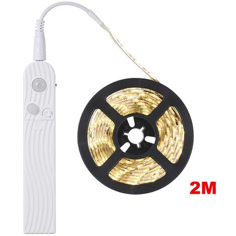 Debajo del gabinete del sensor de movimiento de iluminacion LED, 2m Cama Escaleras Armario Lampara de cinta, Armario LED noche luz de tira, Blanco, 2m