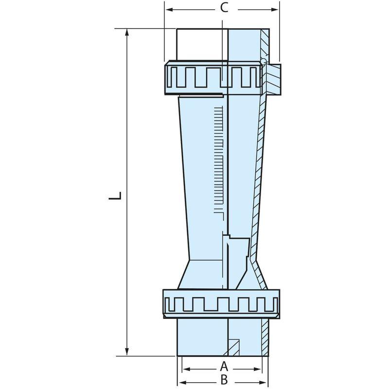 Débitmètre à ludion Raccords PVC 20 mm à coller flotteur ABS 60-600L//h