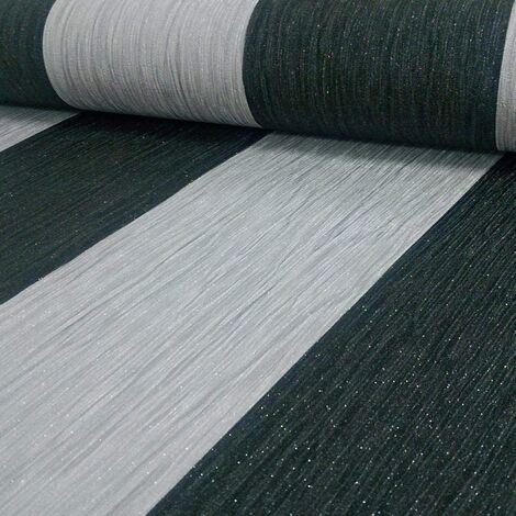 DEBONA Crystal Stripe Pattern Stripe Textured Glitter Vinyl Wallpaper (Silver Black 9012)