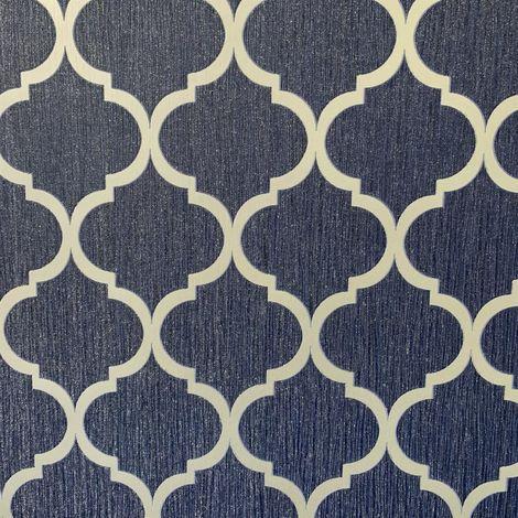 Debona Crystal Trellis Blue/ Silver Wallpaper