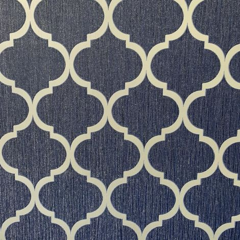 Debona Crystal Trellis Wallpaper Glitter Blue Silver Metallic Sparkle Geometric