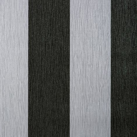 Debona Glitter Encrusted Vinyl Wallpaper Stripe in Black & Silver 9012